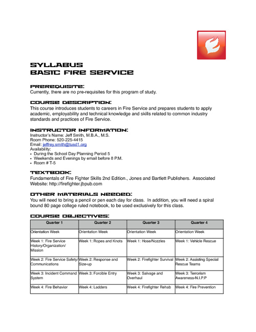 Basic Fire Service Syllabus