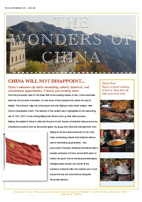 Aimee van Diermen- Wonders Of China- Travel Article