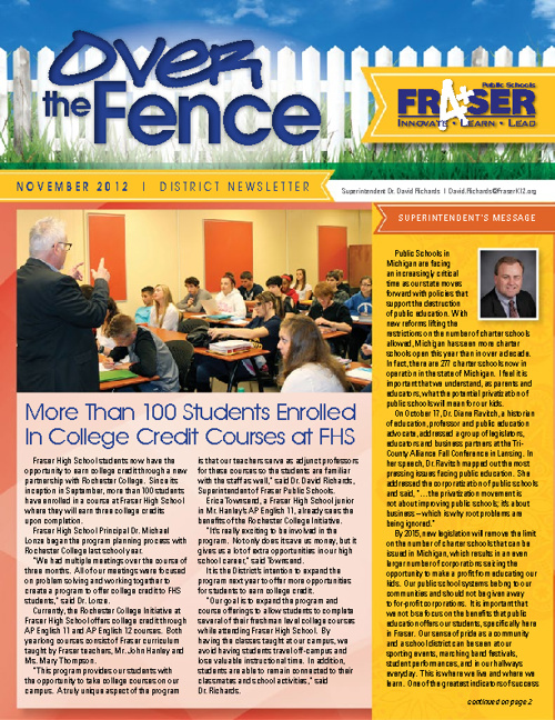 November Over The Fence District Newsletter