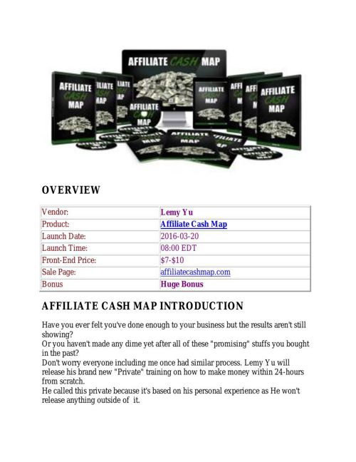 Affiliate Cash Map review