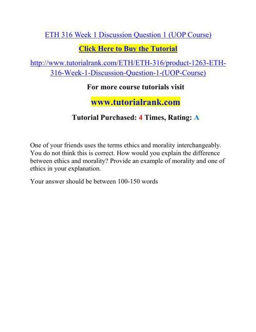 ETH 316 Potential Instructors / tutorialrank.com