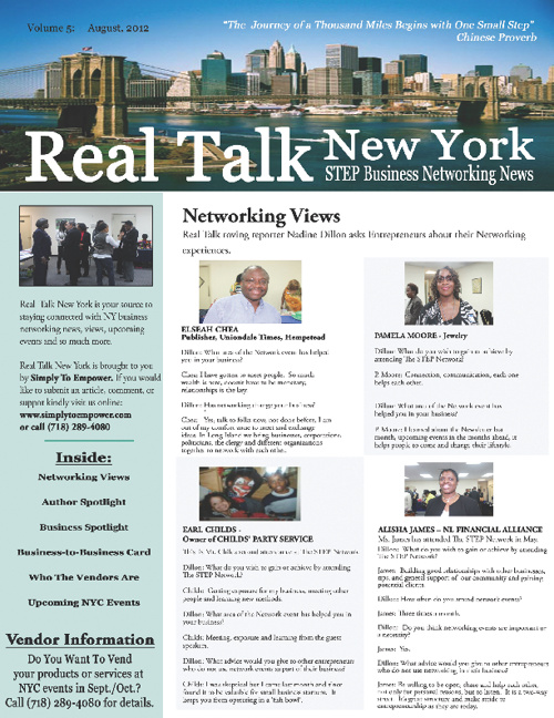 Real Talk New York - STEP Business Networking News; August 2012