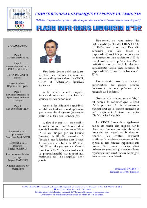 Flash Info N° 32 - Février 2004