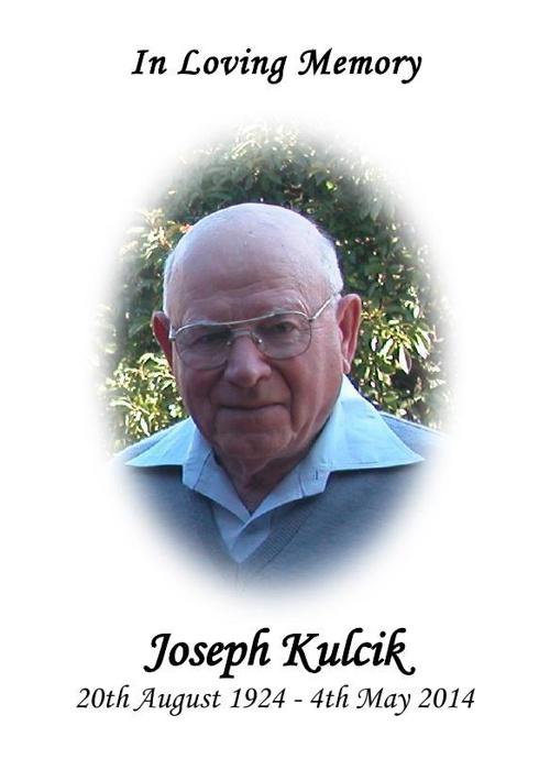 Thank you card for Joseph Kulcik