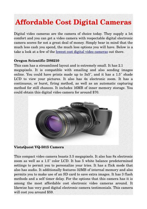 Affordable Cost Digital Cameras