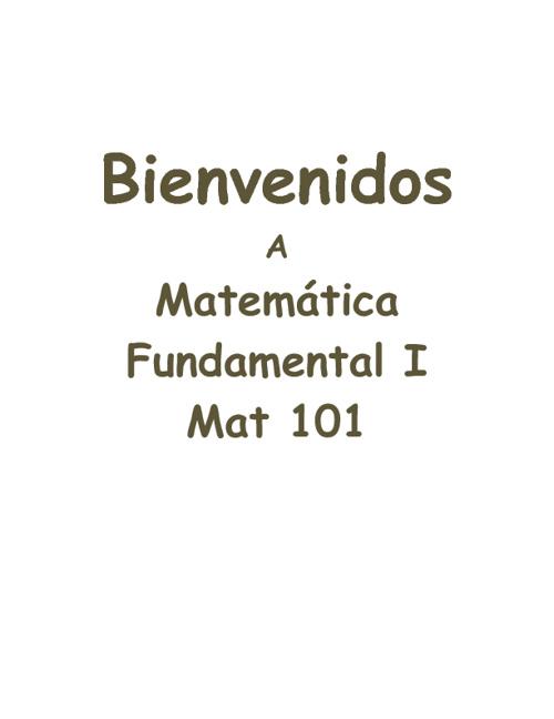Bienvenidos a Mat 101