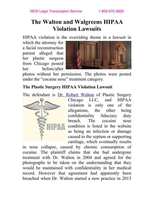 The Walton and Walgreens HIPAA Violation Lawsuits