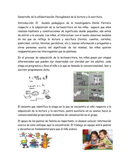 Desarrollo de la alfabetización: lectura y escritura