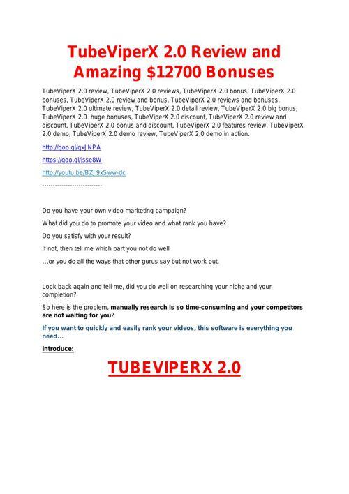 TubeViperX 2.0 Detail Review and TubeViperX 2.0  $22,700 Bonus