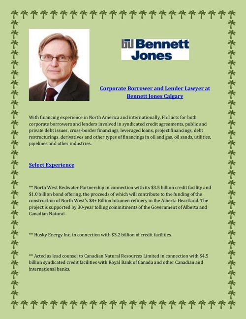 Corporate Borrower and Lender Lawyer at Bennett Jones Calgary