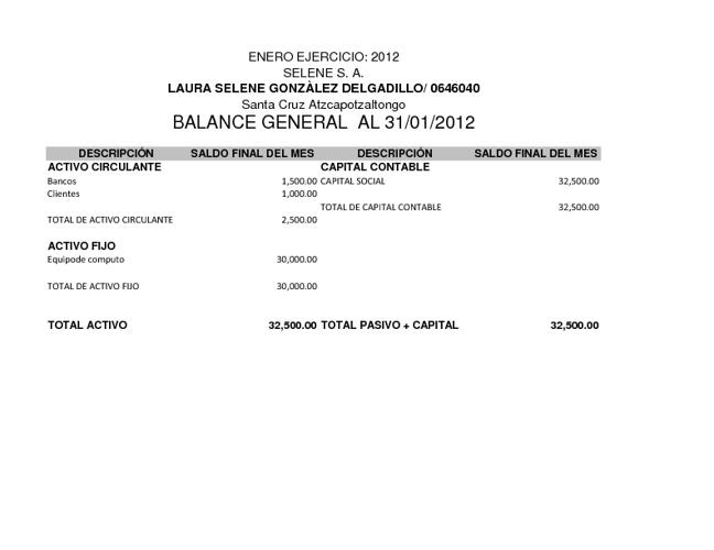 Balance SELENE S.A.