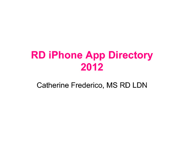 RD iPhone App Directory