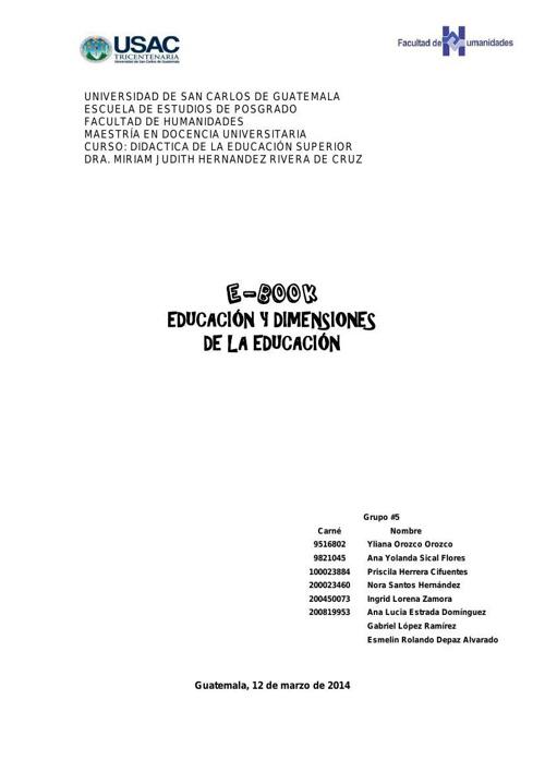 EDUCACION Y DIMENSIONES DE LA EDUCACION