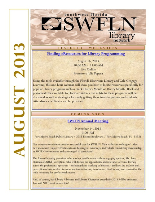 SWFLN August 2013 CE News