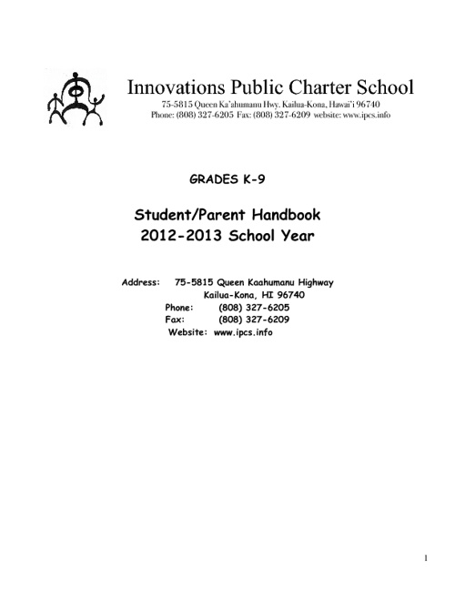 IPCS 2012-13 Parent Handbook