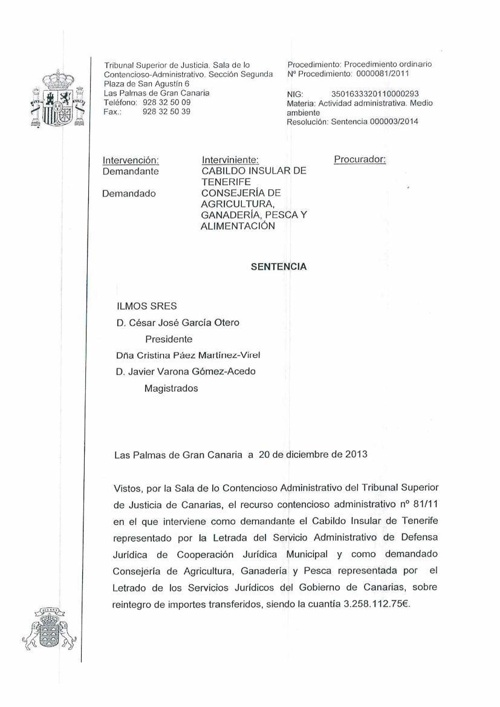 Sentencia CM Arico reintegro de subvención