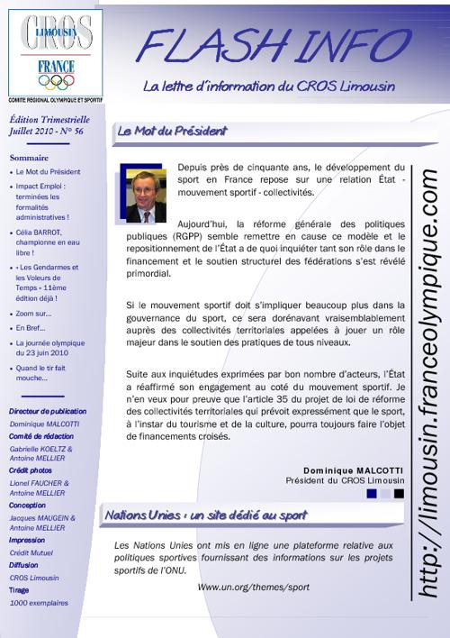 Flash Info N° 56 - Juillet 2010