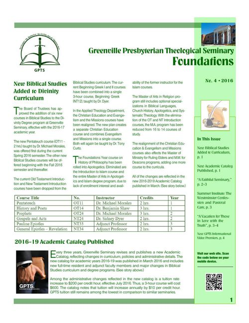 Foundations Newsletter No. 1, 2016