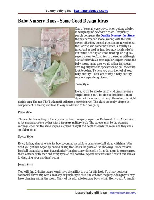 Baby Nursery Rugs - Some Good Design Ideas