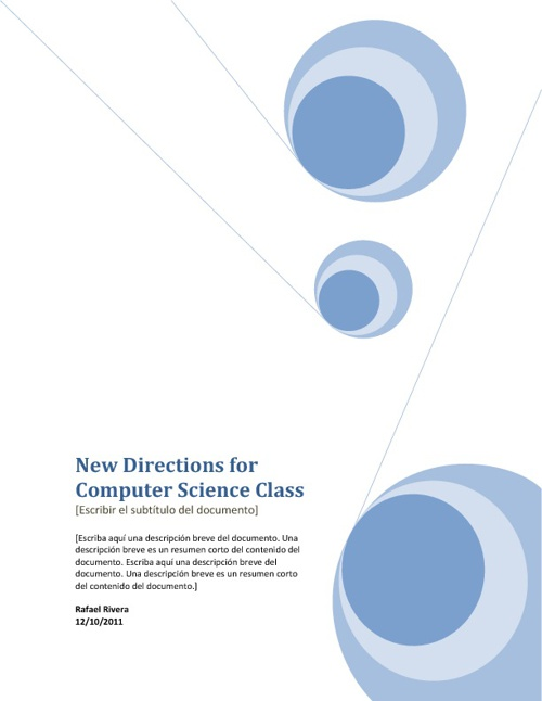 New Direction for Computer Science Class