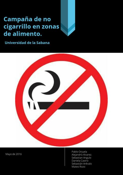 campaña de no cigarrillo en zonas de alimentos