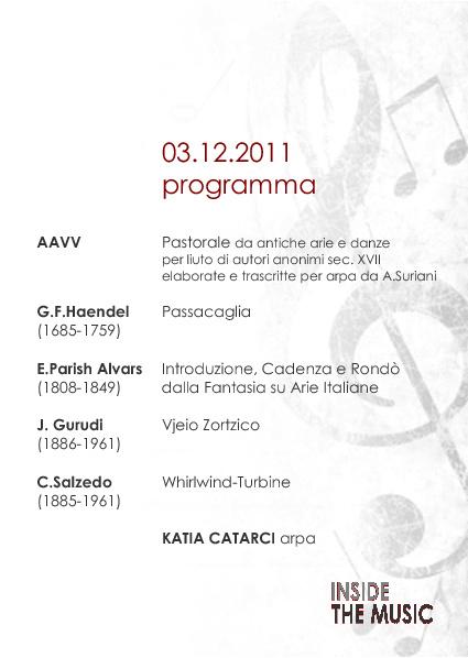 Klara CATARCI-Programma di sala , concerto del 3 dicembre 2011
