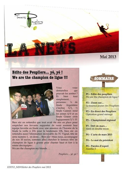 Newsletter des Peupliers - mai 2013