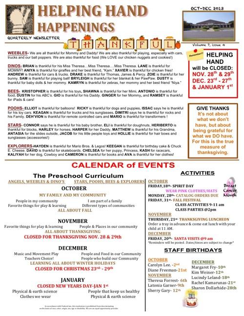 Helping Hand Happenings-quarterly newsletter 2013