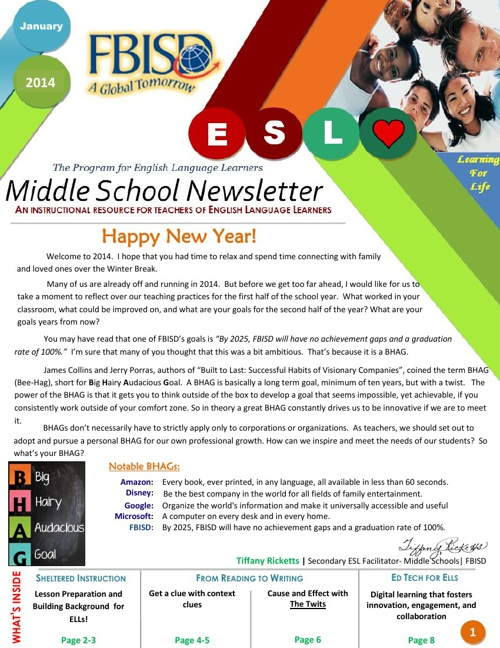 The Program for ELLs Middle School Newsletter- January