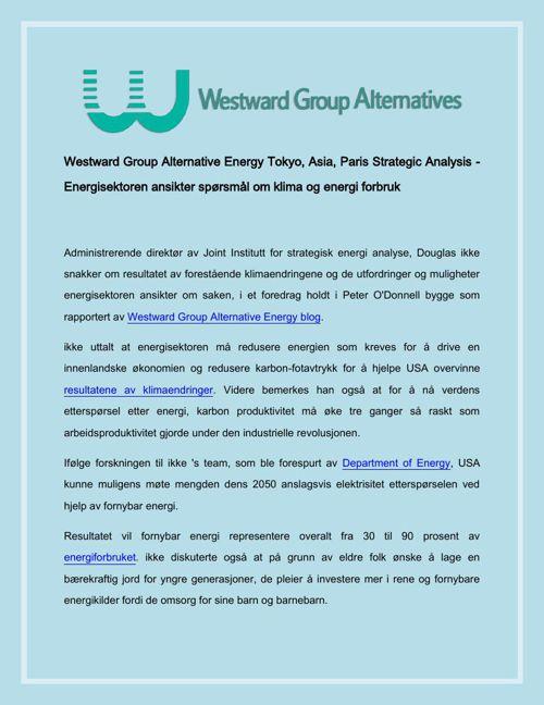 Westward Group Alternative Energy Tokyo, Asia, Paris Strategic A