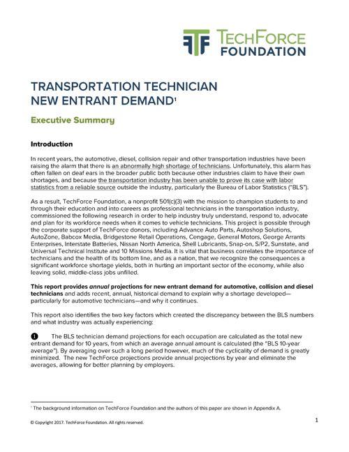 Technician Demand Exec Summary