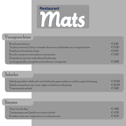 Kaart restaurant Mats