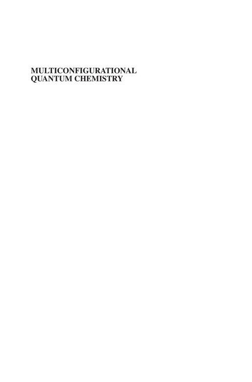 Multiconfigurational Quantum Chemistry (2016)
