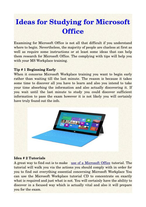 Ideas for Studying for Microsoft Office