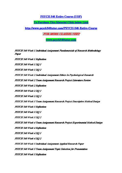 PSYCH 540 Entire Course (UOP)