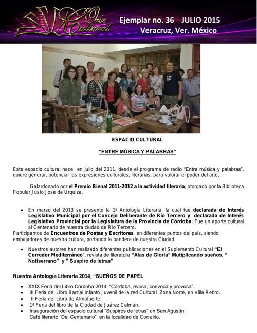 BOLETIN No.- 36  JULIO 2015