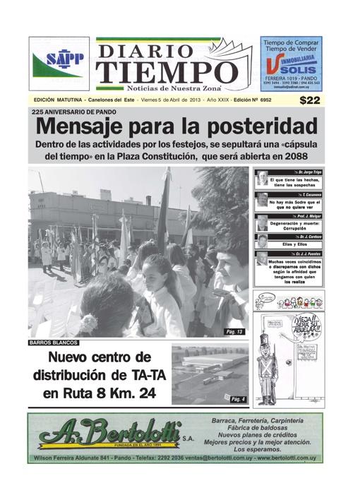 Dierio tiempo  - 12 de Abril de 2013 - Edición Nº 6952