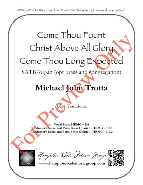 Come Thou Font of Every Blessing  Quartet Score