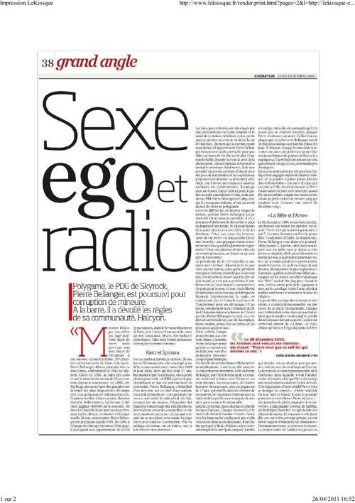 Affaire Bellanger Skyrock - Sexe, Ego, Radio (Article Libération