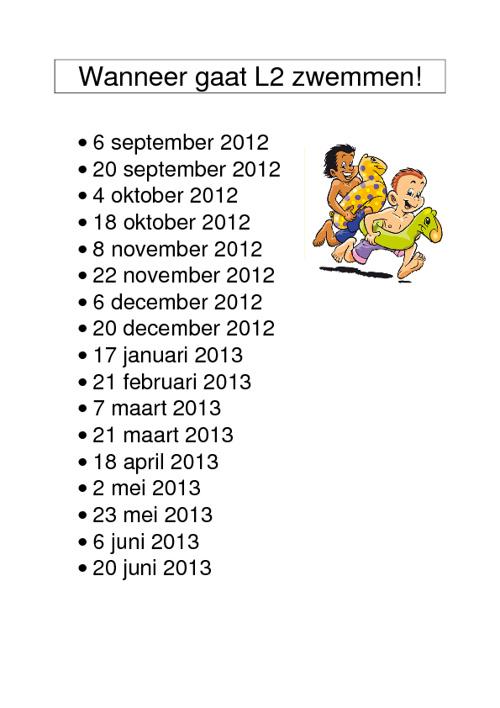 Zwemdata schooljaar 2012 - 2013