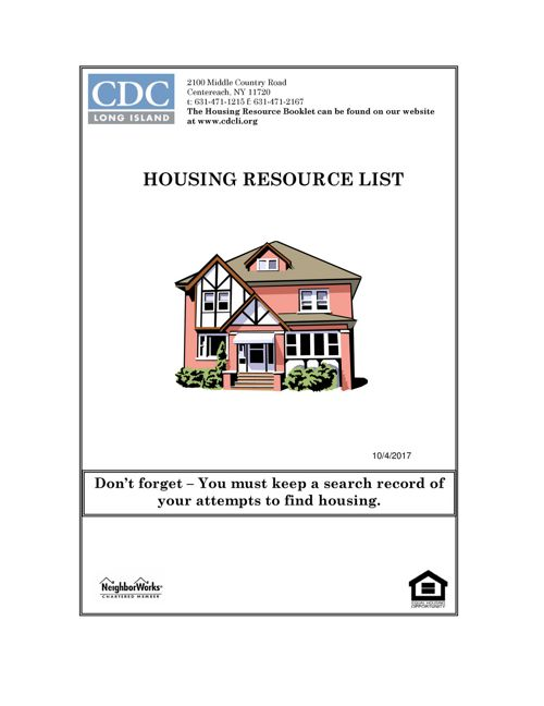 Housing Resource Booklet Updated 10.4.17