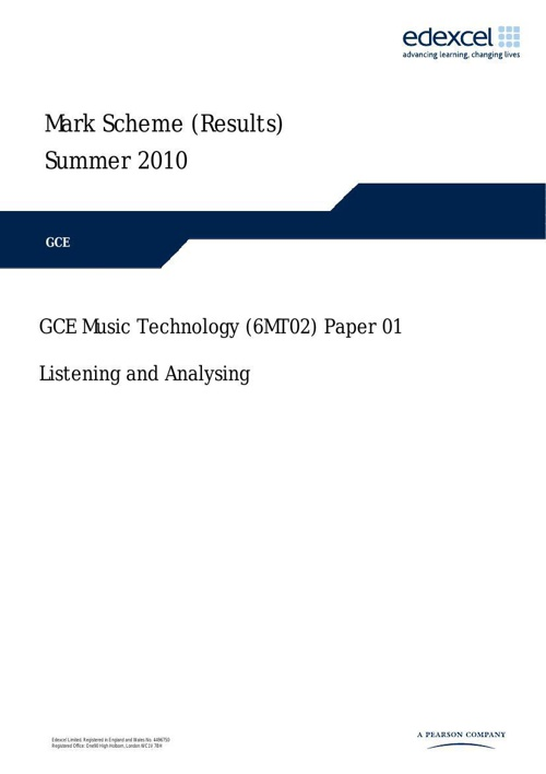 2010 6MT02 AS Listening Paper Mark Scheme