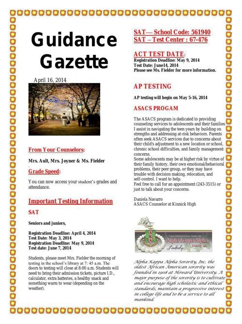 Guidance Gazette- April 2014