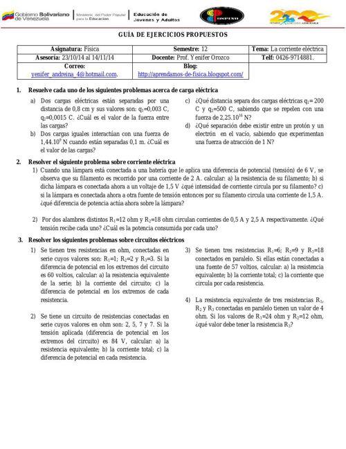 GUÍA DE EJERCICIOS PROPUESTOS (CORRIENTE ELÉCTRICA) Y ACTIVIDADE