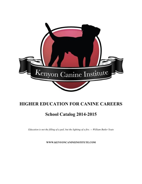 Kenyon Canine Institute School Catalog