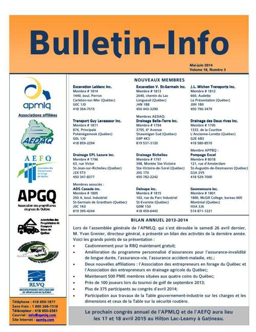 Bulletin mai-juin 2014