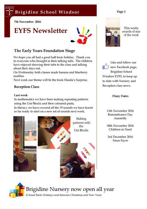 Brigidine EYFS newsletter 7.11.16
