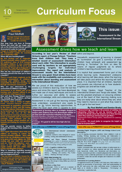 Curriculum Focus on Assessment, Issue 10, Dec 2011