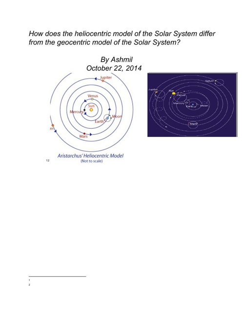 Heliocentric and Geocentric