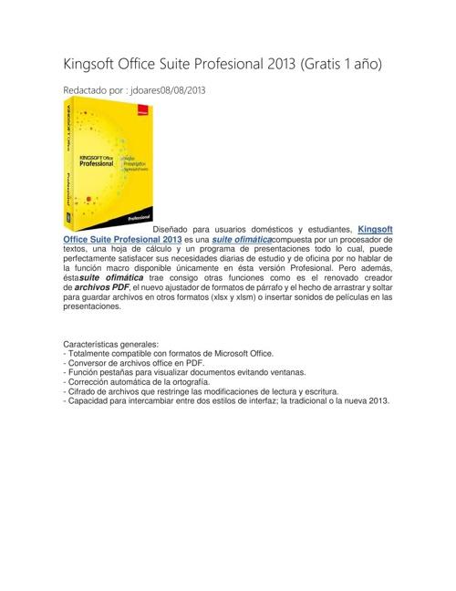 Kingsoft Office Suite Profesional 2013